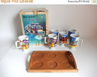 Sale - Vintage 1970's Mod Unused Set of 6 Porcelain Cosmopolitan Coffee / Tea Mug with Wooden Tray by Fred Roberts in Box