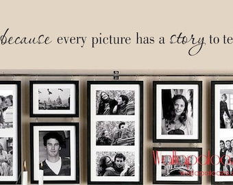Family Wall Decal - because every picture has a story to tell - Family Room Decal - Family wall decal - Wallapalooza Wall Decals