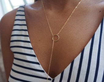 Y Circle Necklace, Lariat Necklace, Gold Lariat Necklace, Drop Circle Necklace, Gold Filled or Sterling Silver Necklace, Eternity Jewelry.
