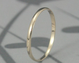Solid 14K Gold 1.5mm Skinny Minnie Plain Jane Half Round Band-YOUR CHOICE of 14K Yellow, White, Rose or Green Gold