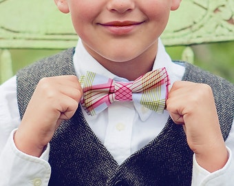 Bow Tie, Bow Ties, Boys Bow Ties, Baby Bow Ties, Bowties, Ring Bearer, Bow ties For Boys, Ties, Plaid Bow Ties - Pink And Green Picnic Plaid