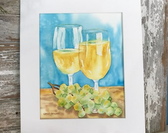 White Wine and Grapes Painting Original Watercolor-Wine Glasses-Home Decor-WallArt-Wine Cellar-Happy Hour