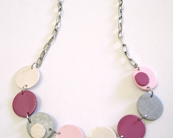 Modern geometric wooden necklace-circular in pink, magenta, silver and pearl-modern, contemporary, minimalist handmade jewelry- eco friendly