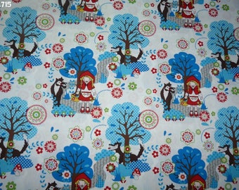 Fabric C715 little Red Riding Hood / coupon blue trees 35x50cm