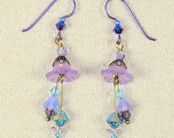 Purple and Teal Tulip Earrings- J-1