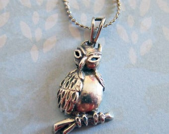 Vintage Sterling Silver Owl on Branch Mexican Silver Pendant Necklace 18 inch Chain