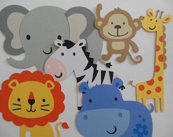 Safari or Zoo Animal Cutouts - Lion, Giraffe, Zebra, Elephant, Hippo and Monkey - Birthday Party Decorations - Baby Shower Decor - Set of 6
