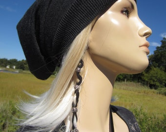 Women's Merino Wool Knit Hat Gray Slouchy Beanie Hat Charcoal Grey Tam Lightweight Long Back Tam A1195