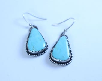 TURQUOISE Earrings . Turquoise Mountain Earrings . Handmade Earrings . Sterling Silver Earrings . Anxiety Jewelry . Mental Health