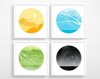 Wall Art Prints, Set of 4 Prints, Living Room Wall Art, Nature Prints, Office Decor, Bedroom Wall Decor, Print Set, Nature Art