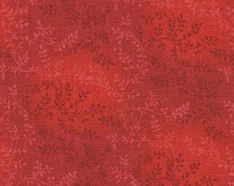 """Red Vines with Leaves 108"""" wide back 100% cotton fabric"""