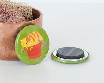 Tabby Cat in Flower Pot Magnet, Yellow & Orange Cat Button Magnet, Animal Button Magnets, Mini Magnets, If I Fits I Sits Kitty