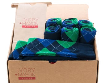 Groomsmen Socks Kit - Navy Argyle - Premium Cotton - 8 Pairs