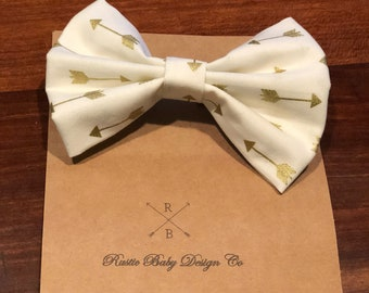 Hair bow cream with good arrows cute hair bow clip