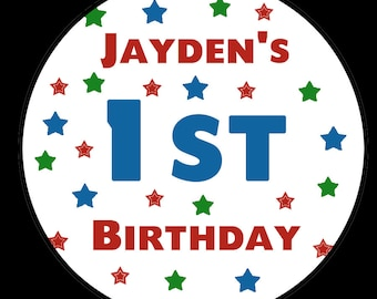Personalized Birthday Stickers- Star Design -Any Age - Available in THREE  sizes  - Custom Colors Available -  Birthdays - Showers - Wedding