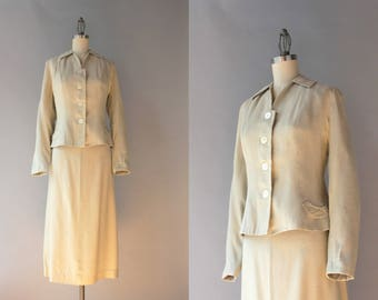 1950s Suit / Vintage 50s Pale Almond Silk Suit / 1950s Fitted Suit Set S S/M small medium
