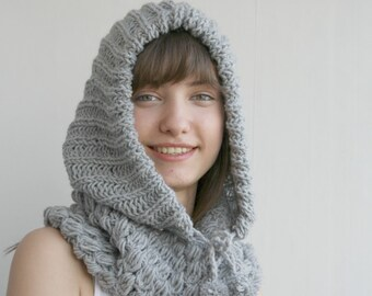 Gray Grey Wool Hooded  Chunky Infinity LOOP Scarf  Cowl Mother's day gift for Her Under USD100
