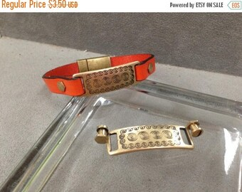 On Sale NOW 25%OFF Unisex Greek Design Bracelet Bar Component Sets For 10Mm Flat Leather Cord Antique Brass Z727 Qty 1