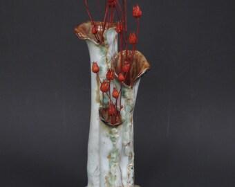 Three Chamber Ceramic Vase Hand Built Earthy Clay Vessel Earth Tone Organic Pottery Vase Rustic Home Decor
