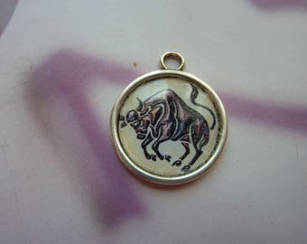 1 cabochon resin 20mm silver round metal Taurus zodiac sign