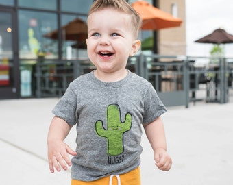 Heather Gray Saguaro Cactus Hug Baby Toddler Kid T-Shirt - Organic Triblend