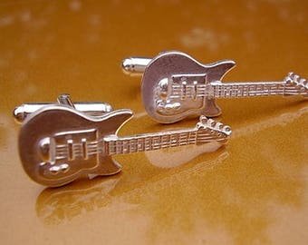 One Pair Sterling Silver Electric Guitar Cufflinks