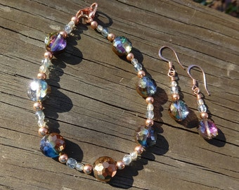 Colorful Czech glass, copper, crystal earring and bracelet set; gifts for her; beaded jewelry; copper