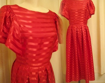 Vintage 80s Ruby Red Satin Stripe Bell Sleeve Dress