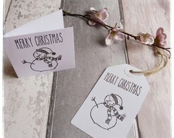 Gift Tags - Present Tags - Christmas tags Handstamped Tags - Snowman Tags - Pack of 5 - blank Tags - colour in tags - Craftsbyblossom