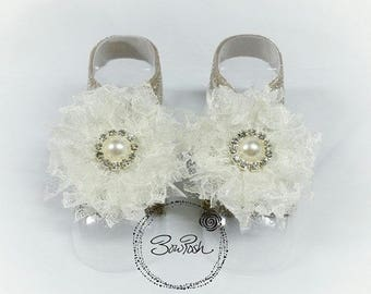 Ivory barefoot sandals, ivory baby sandals, lace barefoot sandals, glitter barefoot sandals, pearl barefoot sandals