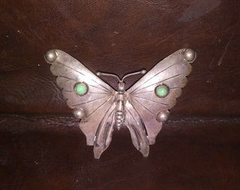 Vintage Silver and Turquoise Butterfly Brooch pin Jewlery