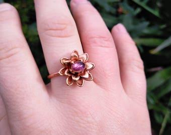 Amethyst Lotus Flower Ring ~ Electroform Lotus Ring