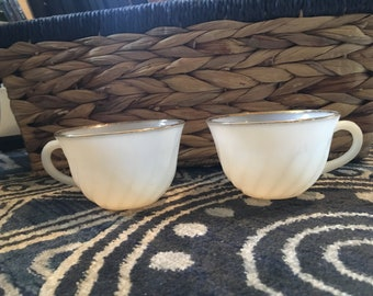 Vintage Fire-king Set of 2 Tea Cups Edged in Gold Milk Glass Looking