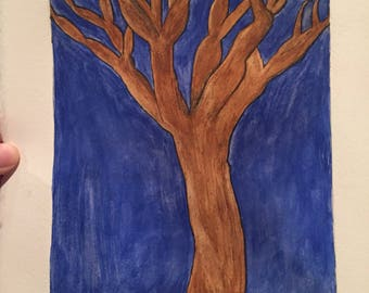 Etched tree with watercolor