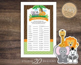 Instant Download Safari Name That Baby Shower Game Cards, Printable Jungle Baby Animal Match, Lion Elephant Zebra Giraffe Baby Shower 57A