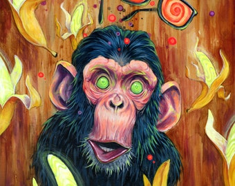 "Monkey Art Print - Surreal Art - Mixed Media Art - ""Banana Land"" by Black Ink Art"