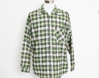 Vintage 1960s Men's Shirt - Plaid Green Sears Work Shirt Button Up  - XL Tall 17