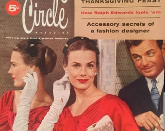 Vintage Family Circle Magazine November 1955 1950s Vintage Fashions, Ads, Beauty, Thanksgiving Recipes