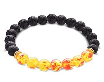 Black Lava Stone 7 Chakra Bracelet