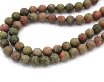 "Two 15.5"" strands Unakite Matte, frosted unakite 6mm"