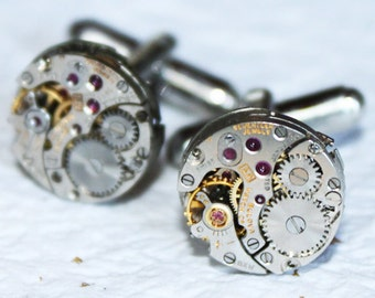 BULOVA Steampunk Cufflinks - Silver Vintage Watch Movement Men Steampunk Cufflinks / Cuff Links - Wedding Groom Men Wedding Gift