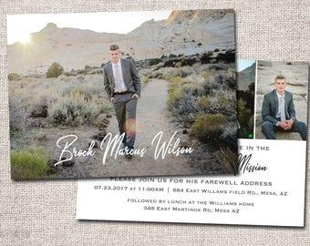 LDS Missionary Farewell invitation, Missionary farewell invitation, Elder, Sister, Farewell invite, PRINTABLE ( Brock 2 sided)