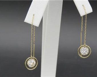 JCM Jacmel Mauritius 14k Yellow Gold CZ Threader Dangle Earrings 1.2g QVC