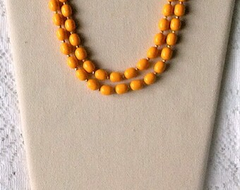 Vintage Long Golden Yellow Oval Bead Single One Strand Necklace - 26 inch