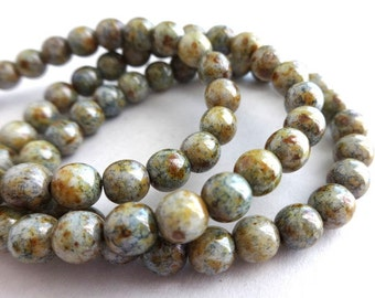15 Luster Picasso Czech Round Beads