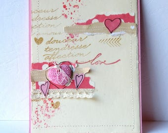 map wedding, engagement, shabby, charm, love heart and lace.  Hand made