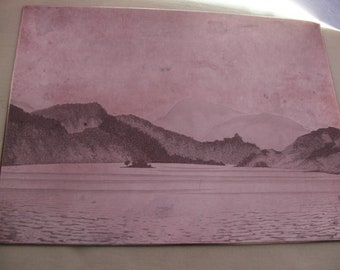 A nice old vintage copper engraving etching printing plate of a lock with fishing nets and islands.