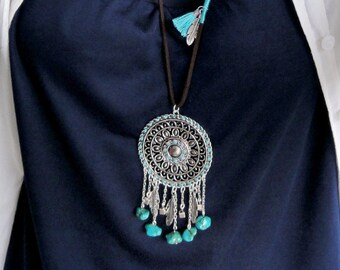 IBIZA necklace Native american necklace, Bohemian jewellery, pendant green turquoise jewelry feather charm necklace, dream catcher necklace