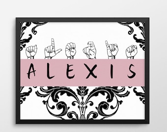 Personalized ASL Gift, ASL Nursery Art Name Print, Custom I Love You Sign Language Print, Gift for the Deaf and Hard of Hearing, ASL gifts