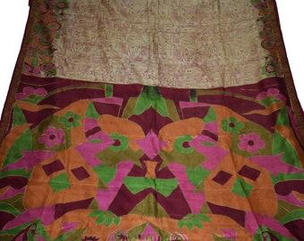 Indian Culture Vintage Sari Pure Silk Maroon Abstract Printed Dress Making Craft Fabric